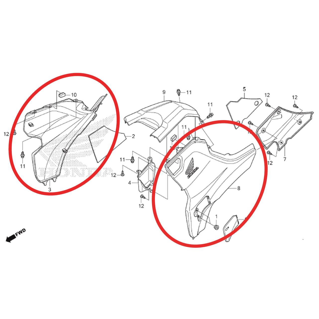 Par Carenagem Lateral Quadriciclo Honda Fourtrax Trx 420 Original