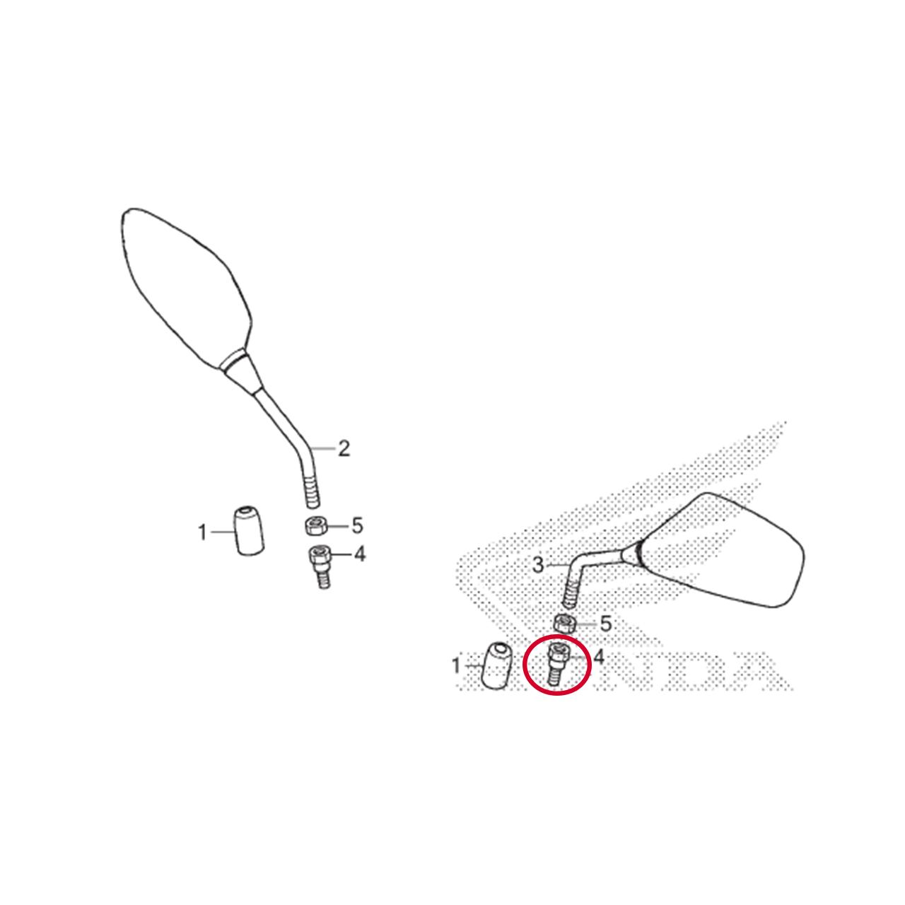 Parafuso Adaptador Retrovisor 10 mm PCX 150 2016 2017 2018 2019 2020 Original Honda 90003MY5720