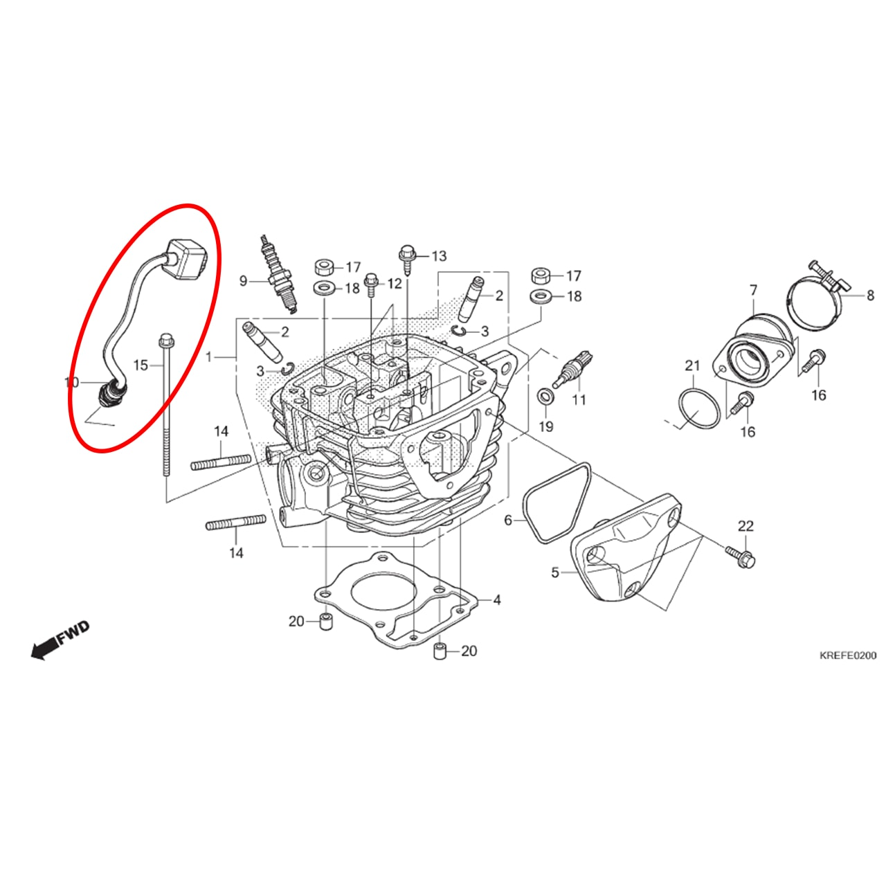 Sensor Oxigênio NXR Bros 160 2018 2019 Original Honda 36531KREK01