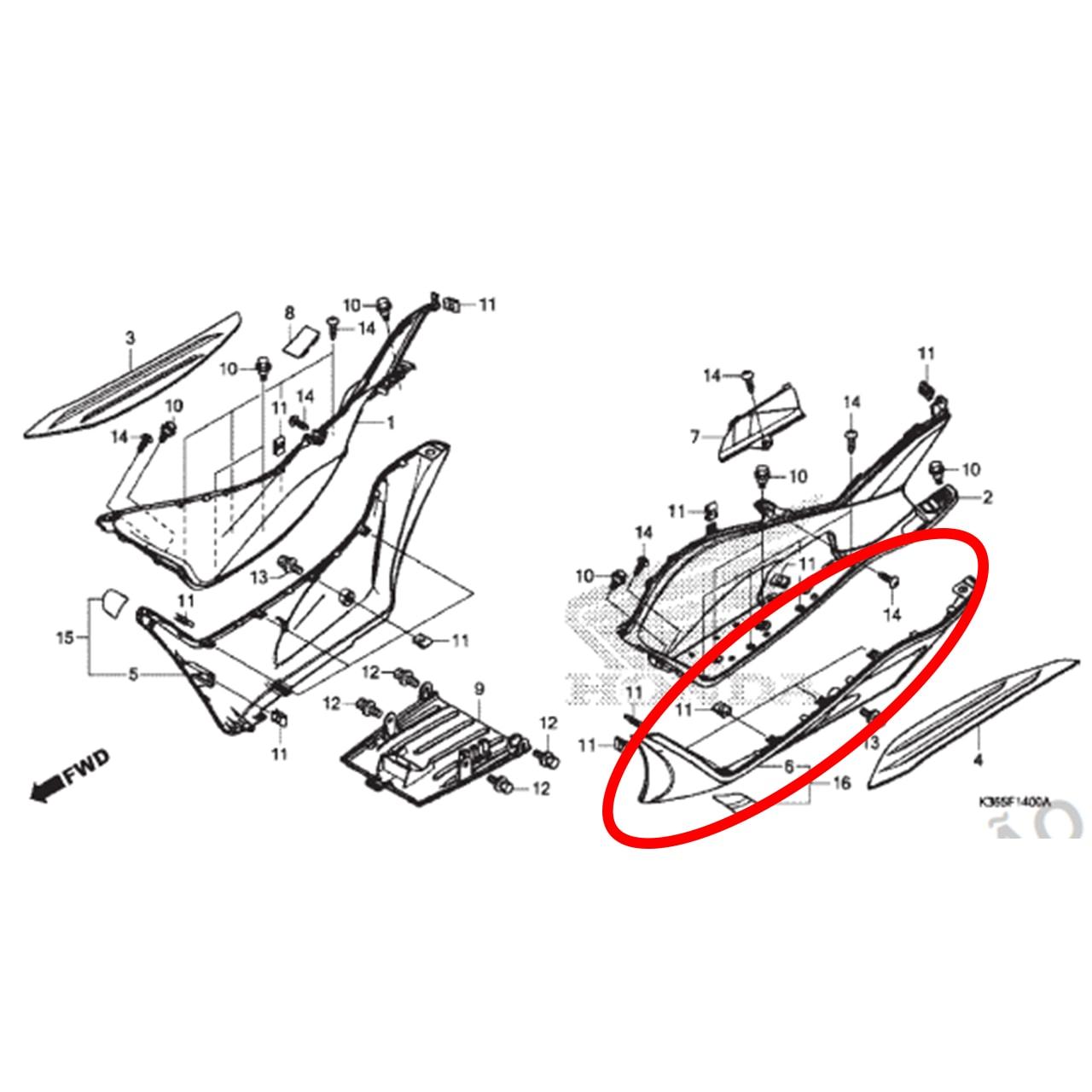 Tampa Assoalho Esquerda Cinza PCX 150 2016 2017 Original Honda 64432K36H00ZA