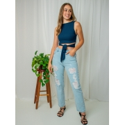 cropped canelado multi - azul