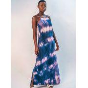 vestido longo tie dye - azul