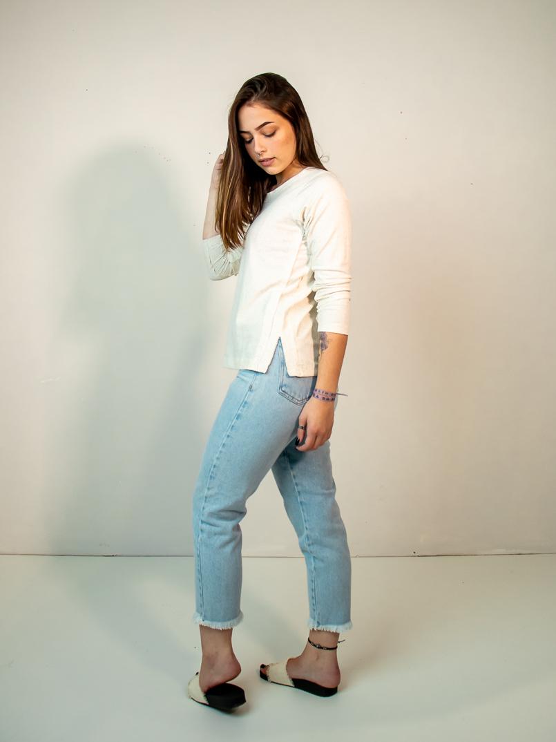 blusa manga longa linho  - MUDI