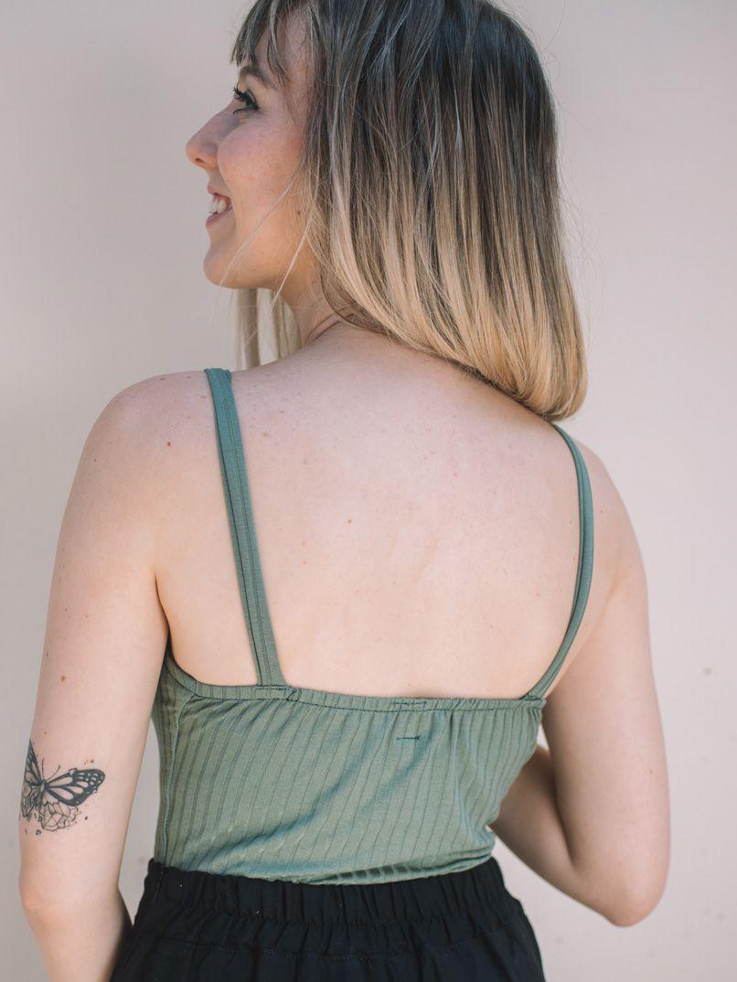 Body Reto Alças - Verde Folha