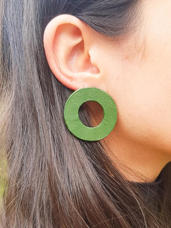 brinco argola cerâmica - verde