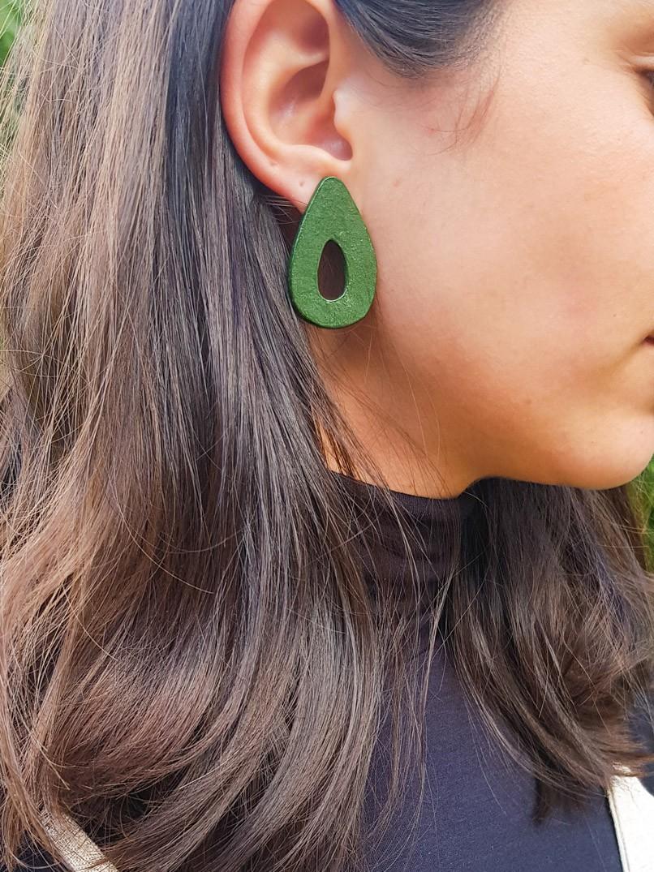 Brinco gota cerâmica - verde