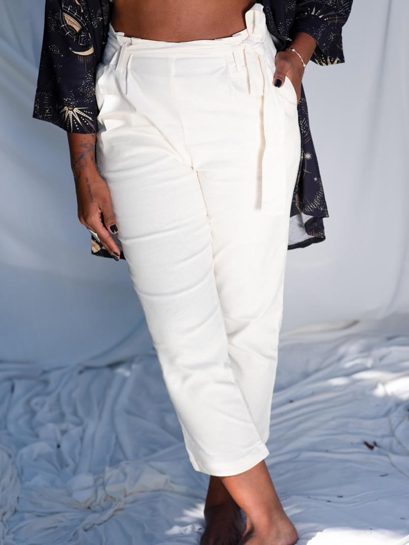 calça clochard linho - off white