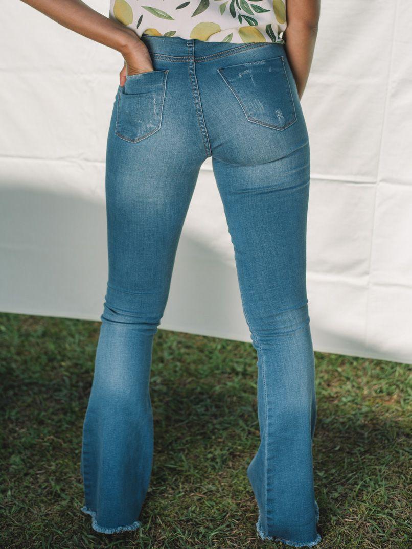 calça flare vintage blue