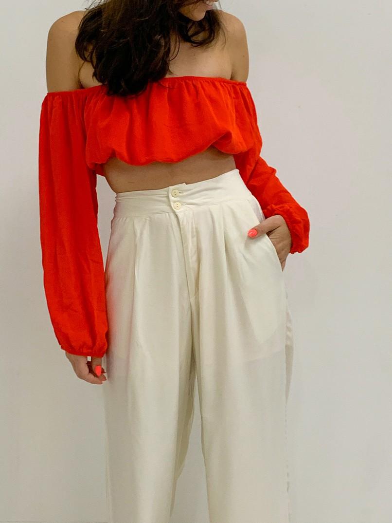 calça pantalona 2 botões off white
