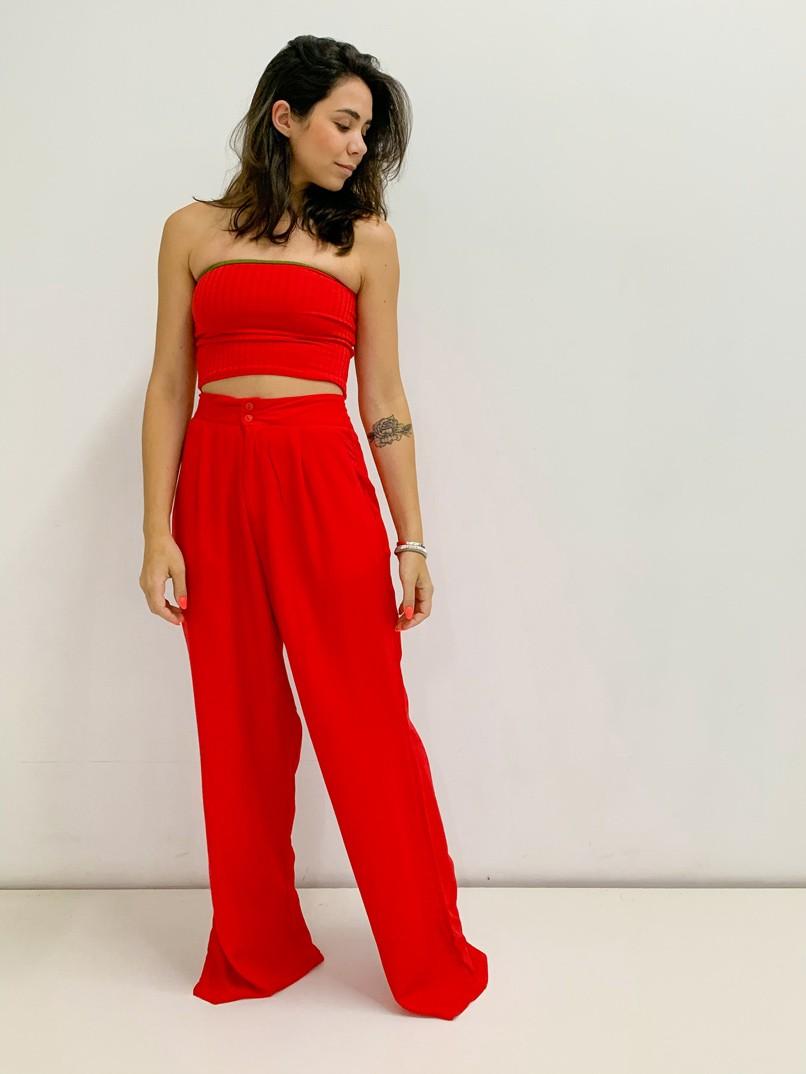 calça pantalona 2 botões vermelha