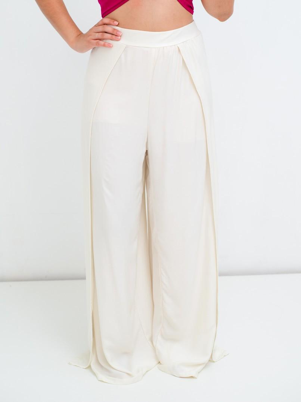 calça pantalona fendas off white