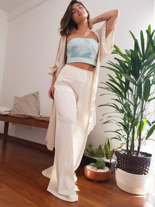 Calça Pantalona Malha Canelada - Linho
