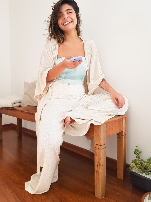 Calça Pantalona Malha Canelada - Linho  - MUDI