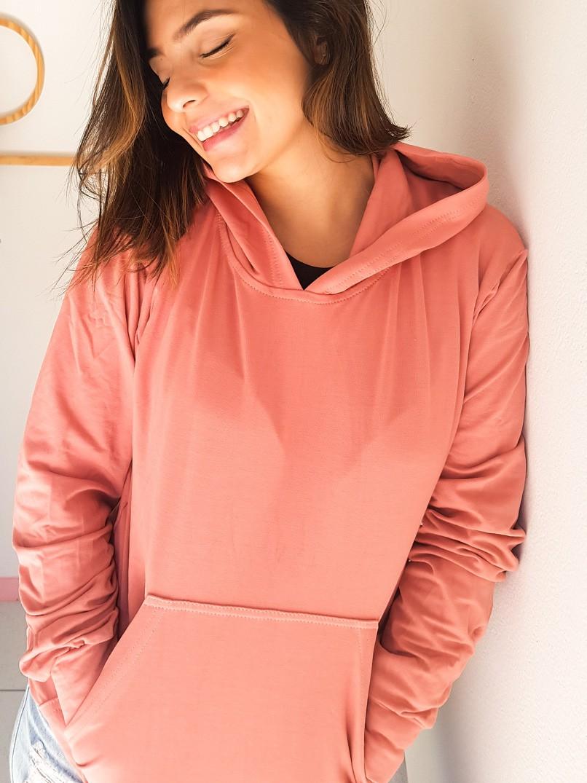 casaco moletom capuz - rosa