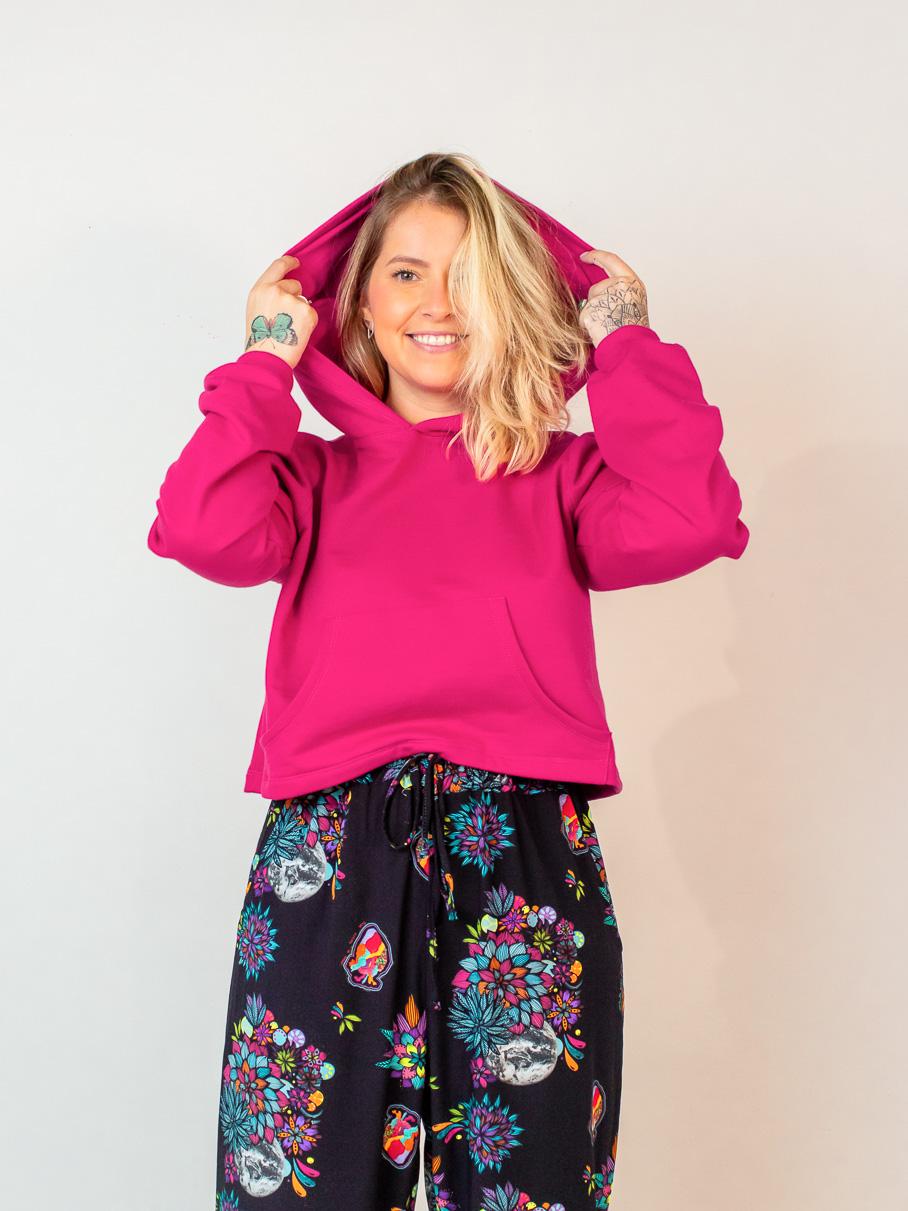 casaco moletom cropped - rosa