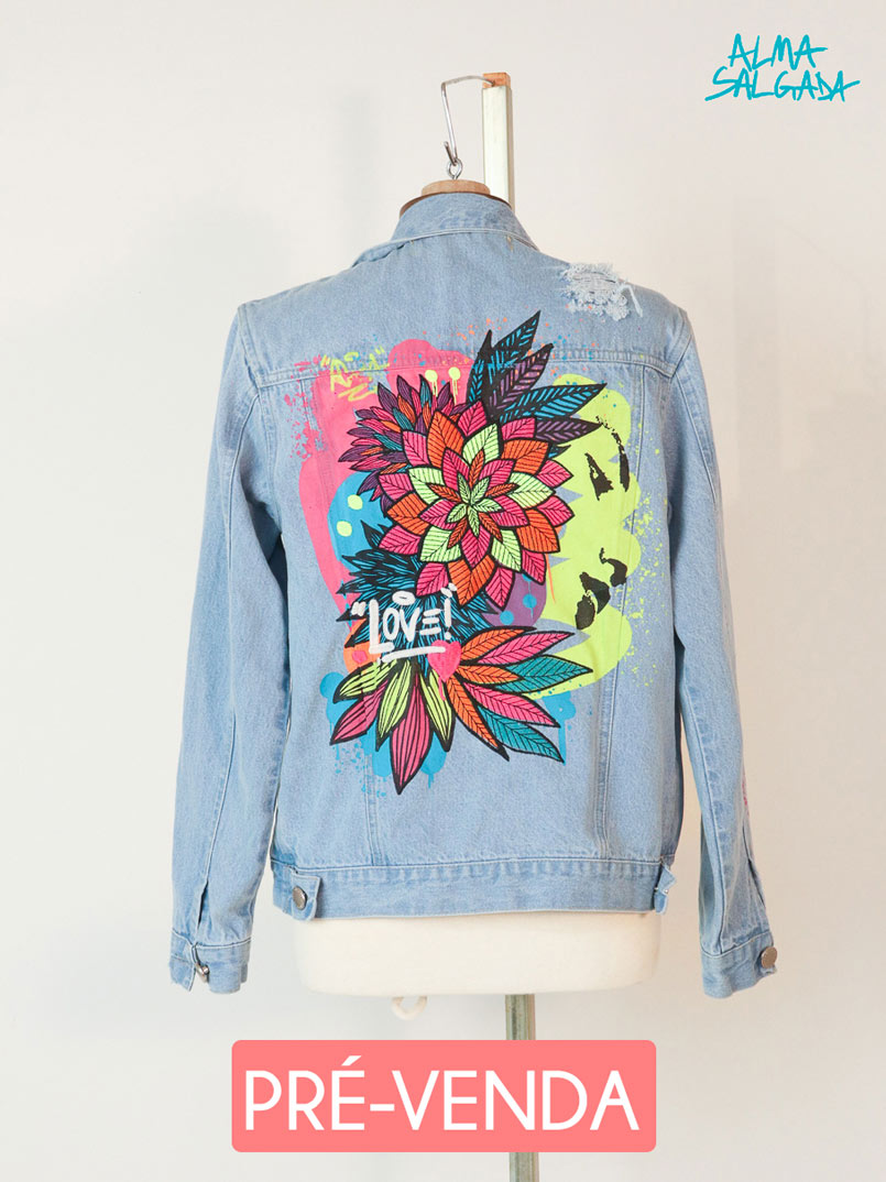 jaqueta jeans bordada alma salgada  - MUDI