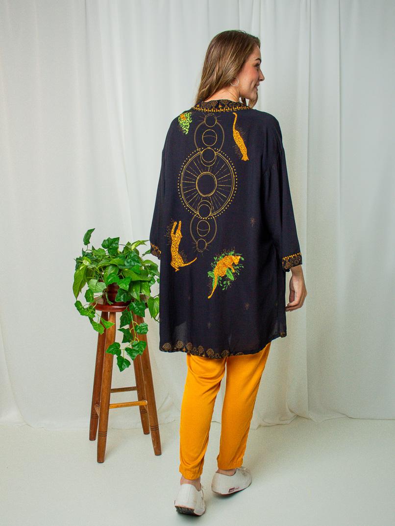 kimono est. onça celeste  - MUDI