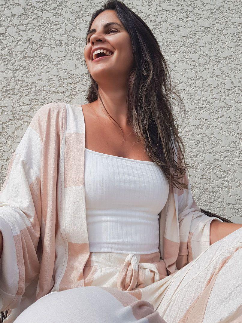 kimono listras - Rosé e Branco