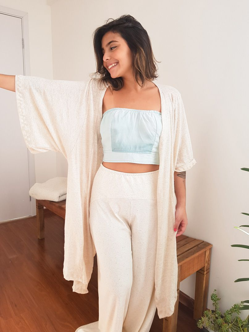 Kimono maxi malha linho