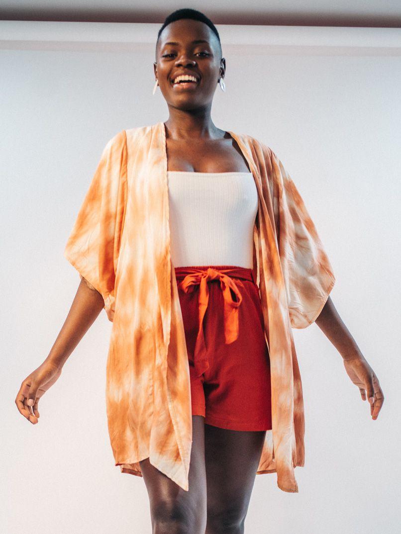kimono tie dye - nude