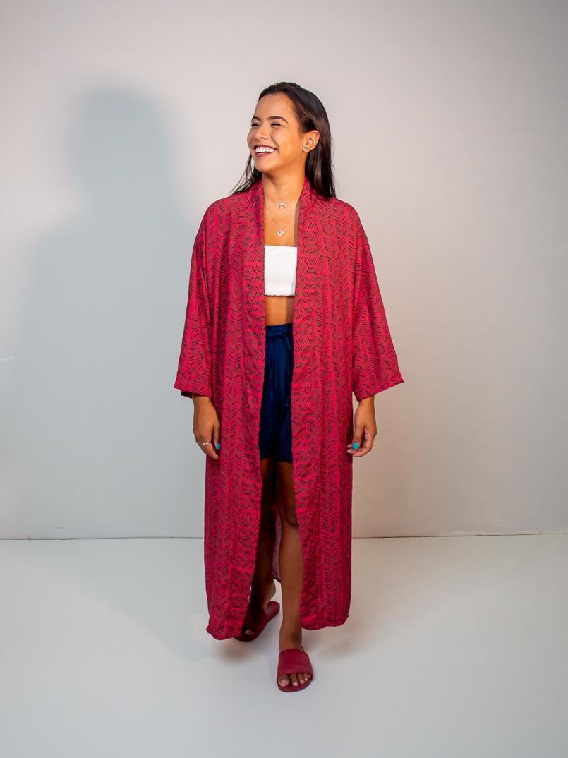 maxi kimono est. samambaia rosa  - MUDI