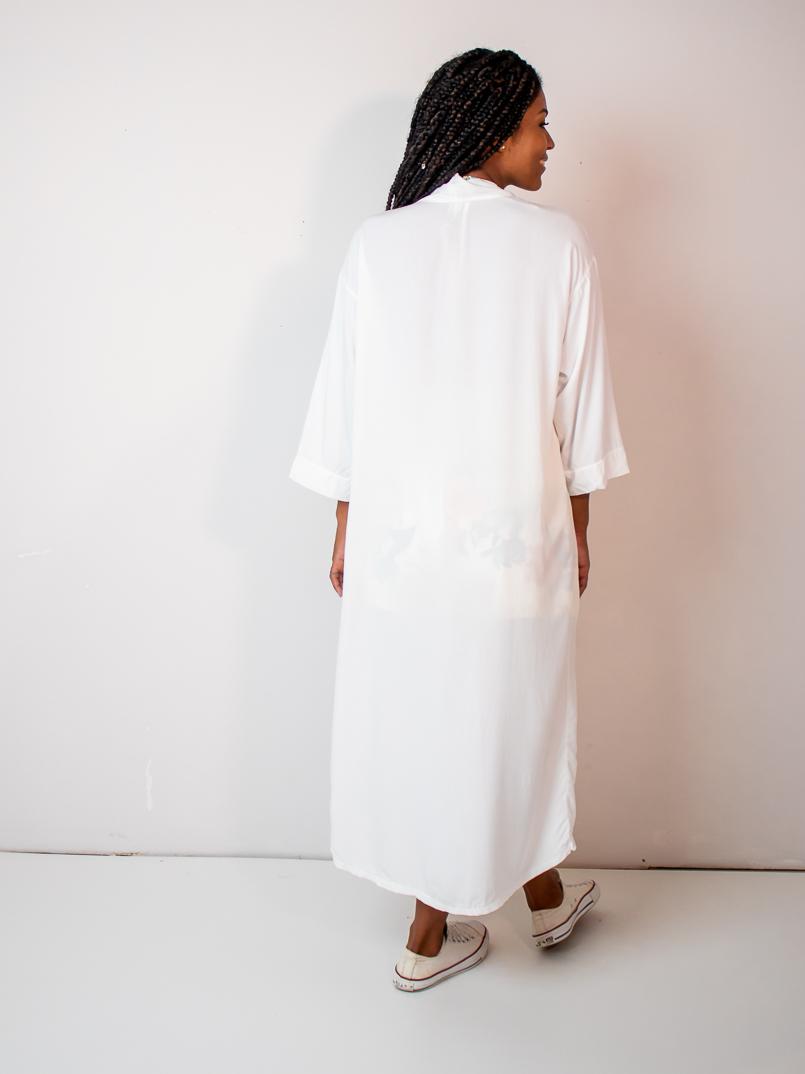 maxi kimono liso branco  - MUDI