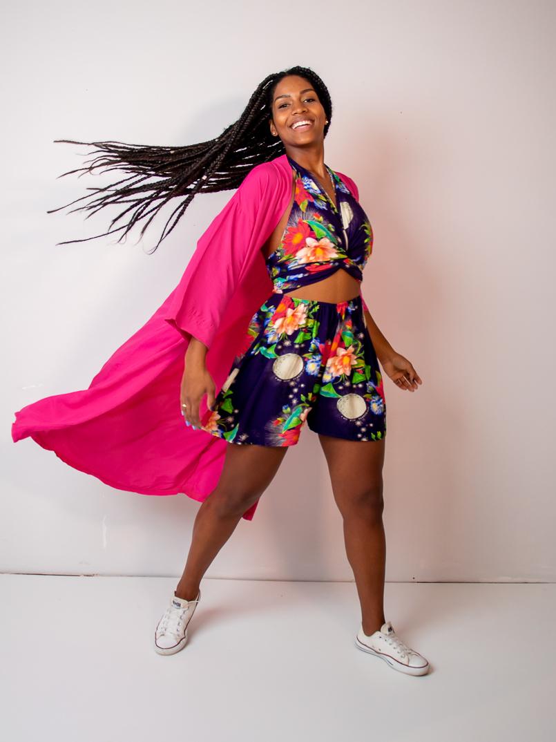 maxi kimono liso rosa  - MUDI