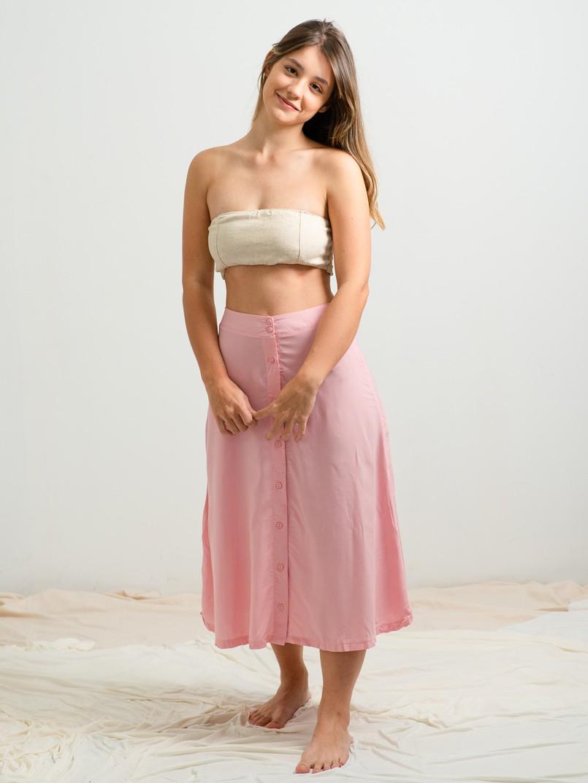 saia midi botões lisa - rosa bebe