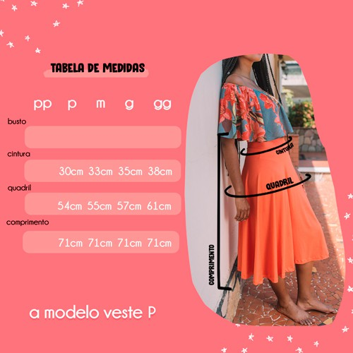 saia midi visco - coral