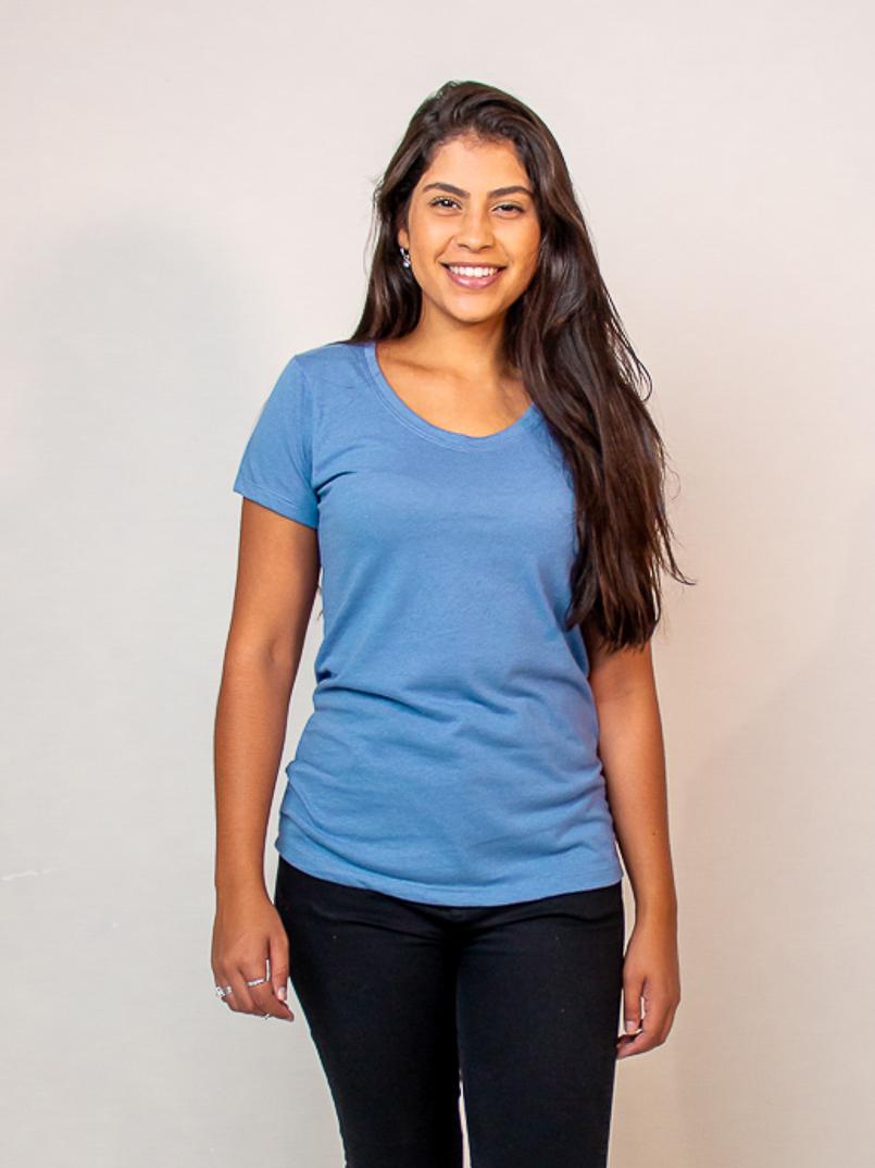 t-shirt malha eco -azul