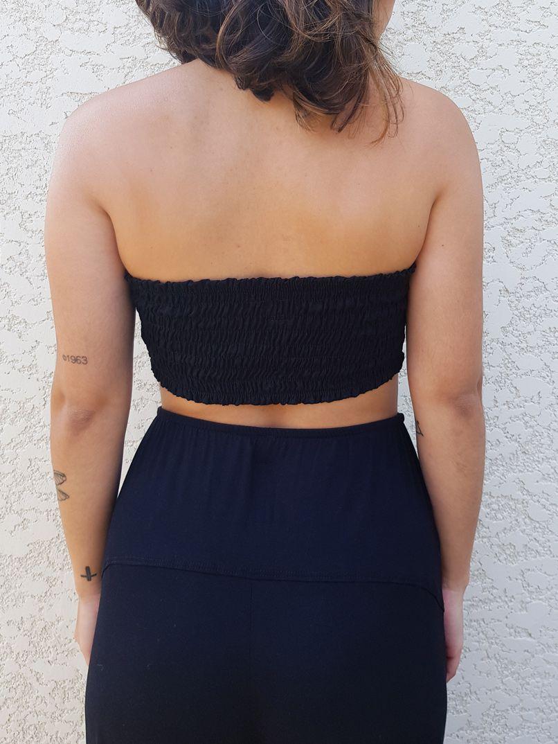 top faixa liso preto