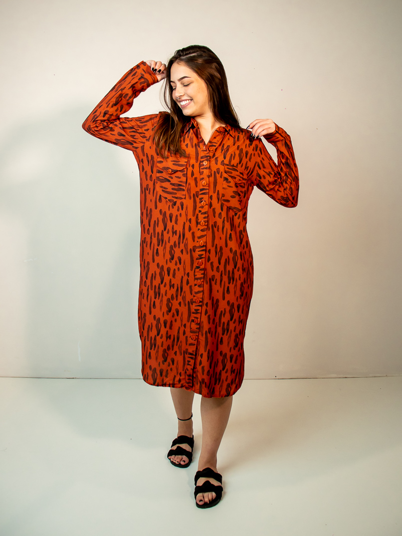 vestido chemise est. lince  - MUDI