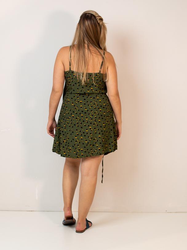 vestido envelope curto est. poá amazônia  - MUDI
