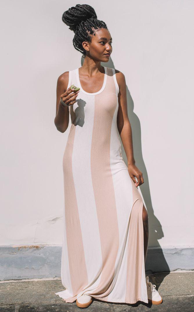 Vestido Longo Cacau Listras - Rosé