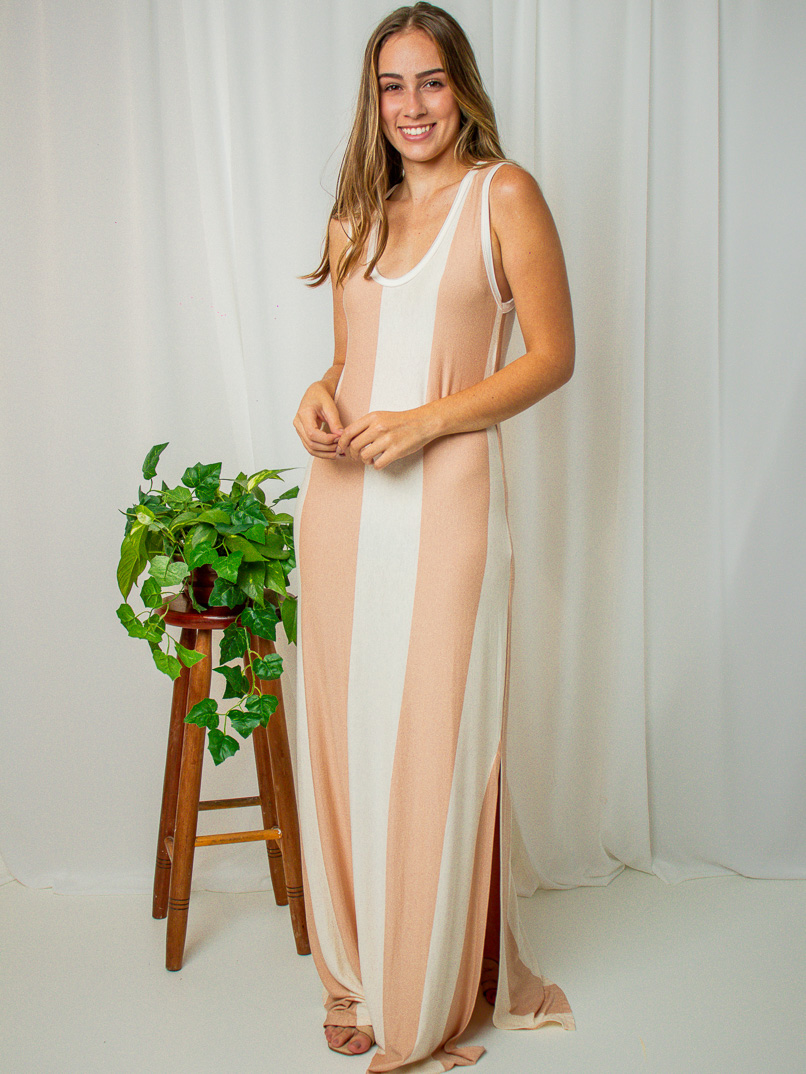 Vestido Longo Cacau Listras - Rosé  - MUDI
