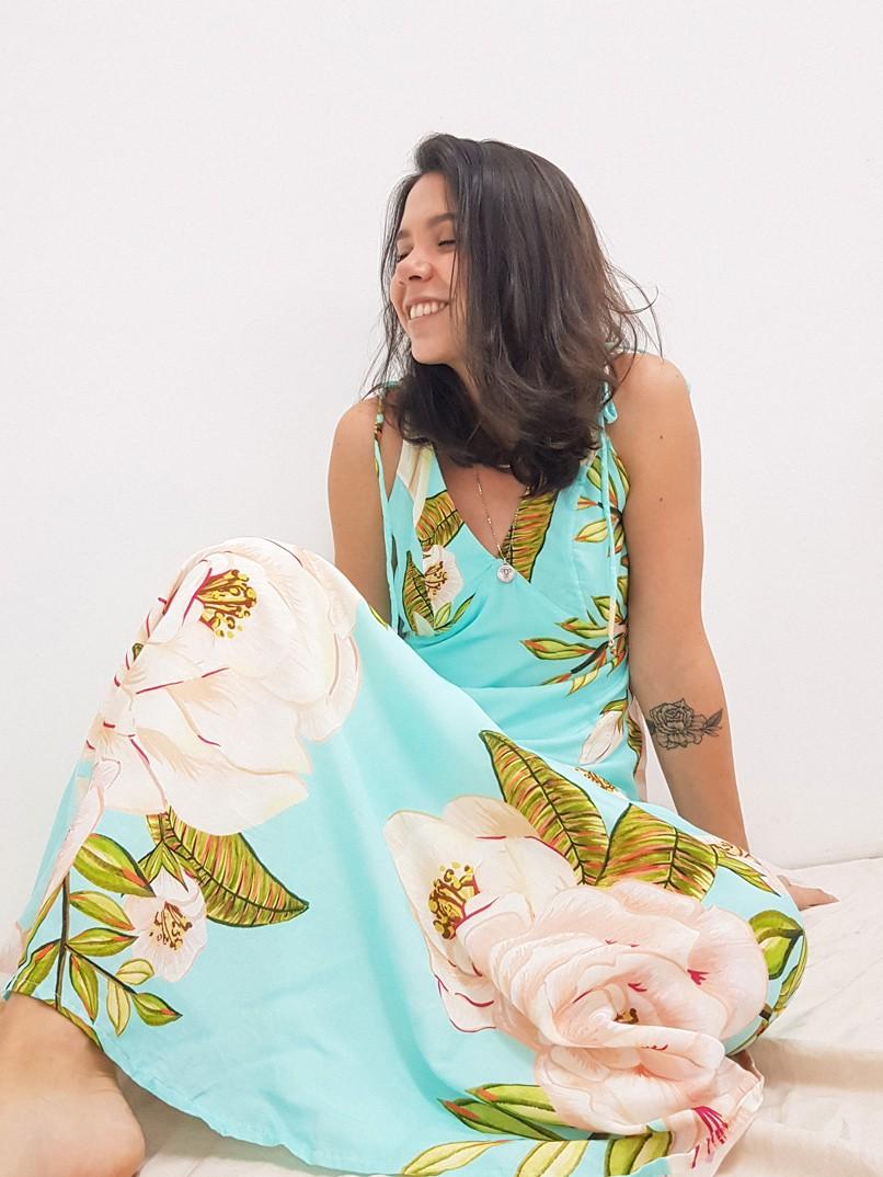 vestido longo est. lisbela - turquesa  - MUDI