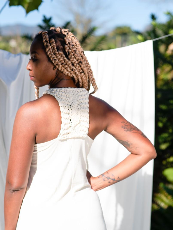 vestido longo macramê - off white