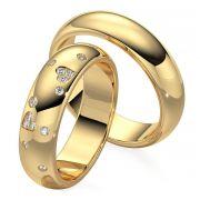 Par de alianças  em ouro 18k e diamantes - CÓDIGO - ALI18