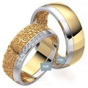 Par de alianças  em ouro 18k e diamantes - CÓDIGO - ALI2