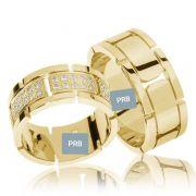 Par de alianças  em ouro 18k e diamantes - CÓDIGO - AL20