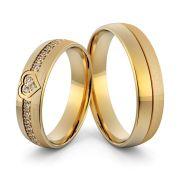 Par de alianças  em ouro 18k e diamantes - CÓDIGO - ALI10