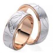 Par de alianças  em ouro 18k e diamantes - CÓDIGO - ALI11