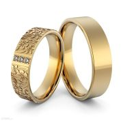 Par de alianças  em ouro 18k e diamantes - CÓDIGO - ALI27