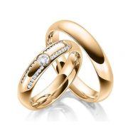 Par de alianças  em ouro 18k e diamantes - CÓDIGO - ALI32