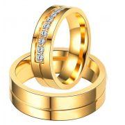 Par de alianças  em ouro 18k e diamantes - CÓDIGO - ALI36