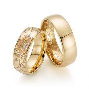 Par de alianças  em ouro 18k e diamantes - CÓDIGO - ALI38