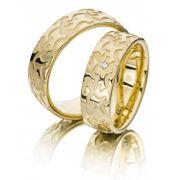 Par de alianças  em ouro 18k e diamantes - CÓDIGO - ALI3