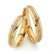 Par de alianças  em ouro 18k e diamantes - CÓDIGO - ALI42