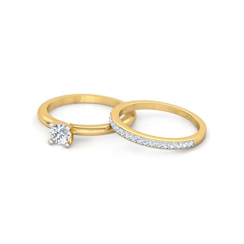 Anel de noivado 18k com aparador, 40 pontos de diamantes - CÓDIGO 0812