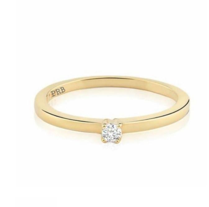 Anel de noivado em ouro 18k  com 0.05 pontos de diamantes - CÓDIGO L078B
